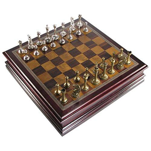 Hansen Antique Pewter Finish Staunton Chess Set in Cherry Finish Storage ()