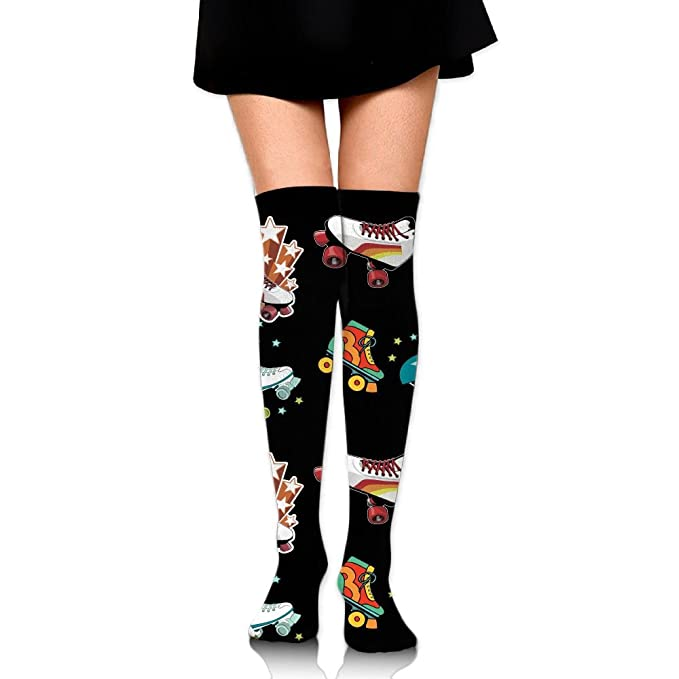1859dac5fd4fa Zaqxsw Novelty Roller Skates Womens Socks Knee High Running Socks Thigh High  Stockings