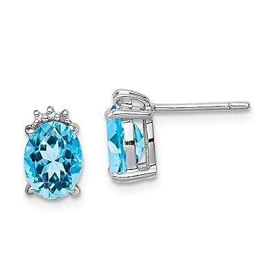 FB Jewels Solid Sterling Silver Rhodium Black Sapphire Earring Jacket
