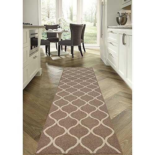 Maples Rugs Runner Rug - Rebecca 2'6 x 10' Non Skid Hallway Carpet Entry Rugs Runners [Made in USA] for Kitchen and Entryway, Café Brown/White