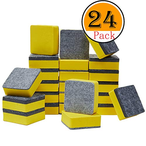 officematters Cute Magnetic Chalkboard Whiteboard Dry Erasers Cleaner. Pack of 24 (24Pcs - Yellow) -
