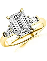 1 Ctw 14K White Gold Prong Set Round And Baguette Diamond Engagement Ring (0.61 Ct F Color IF Clarity Emerald Cut Center)