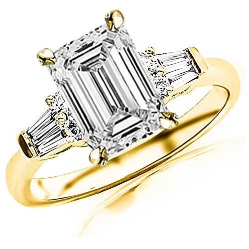 Baguette Brilliant Band Round Diamond (1 Ctw 14K Yellow Gold Prong Set Round And Baguette Diamond Engagement Ring (0.61 Ct F Color IF Clarity Emerald Cut Center))