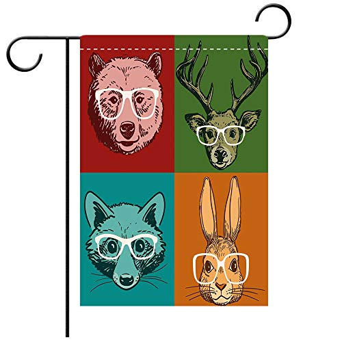Double Sided Premium Garden Flag Cabin Decor Hipster Retro Style Funny Wild Animals Faces with Glasses Line Art Drawing Decorative Decorative Deck, patio, Porch, Balcony Backyard, Garden or Lawn