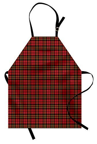 (Lunarable Plaid Apron, Classical Celtic Fashion Tartan Checks and Stripes Cultural Folk Inspiration, Unisex Kitchen Bib Apron with Adjustable Neck for Cooking Baking Gardening, Red Black)