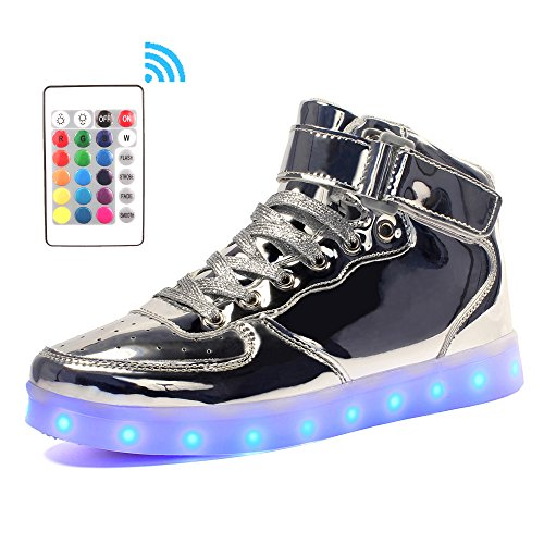 Silver Metallic Led (Voovix Kids LED Light up Shoes High-top Flashing Sneakers with Remote Control for Boys and Girls(Silver,US8/CN25))