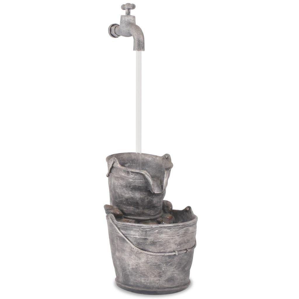 34 x 32 x 91,5 cm Grau Brunnen mit Wasserhahn und Eimer aus Polyresin
