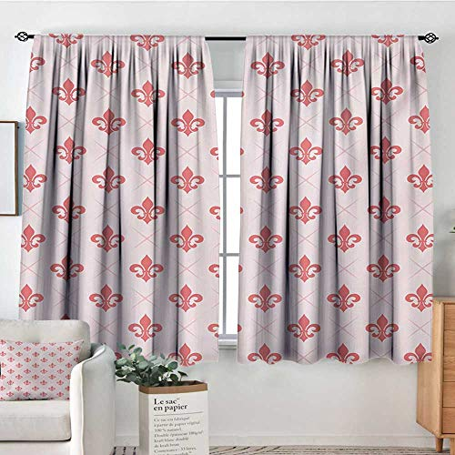 - Mozenou Coral Patterned Drape for Glass Door Checkered Pattern with Ancient Symbol of Fleur De Lis Royal French Lily Flower Blackout Draperies for Bedroom 55
