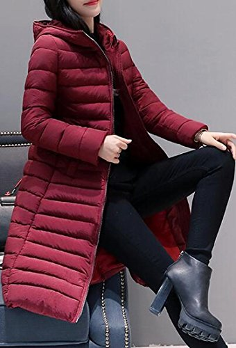 Womens Solid Sleeve Mid Color UK today Red Jacket Long Wine Hooded length Lightweight Down pwx5Fn
