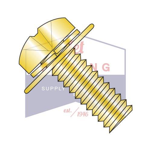 M4X20W9 SEMS Screws Phillips Pan Head, Metric JIS-B1 188 Phillips Split/Flat Washer   Steel   Zinc Yellow   Small Pan Head w/ free-spinning Flat Washer & Helical Split Lock washer (QUANTITY: 2000)