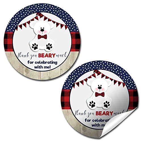 th Buffalo Plaid Print Birthday Party Thank You Sticker Labels, 40 2