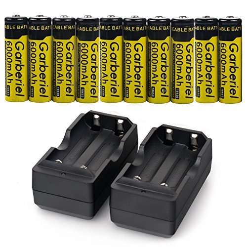 10 PC 18650 Battery 3.7V 6000 mAh Battery With Dual Charger, Rechargeable Battery (Not AA OR AAA Battery)