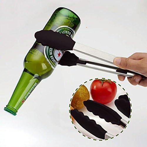 Pinze da Cucina,Pinze per Barbecue Multiuso 9/& 12 Pinze per Alimenti Silicone Antiscivolo Resistente al Calore in Acciaio Inox con Clip di Bloccaggio