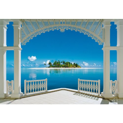 1art1 40569 Terrassen - Ein Perfekter Tag 8-teilig, Fototapete Poster-Tapete (368 x 254 cm)