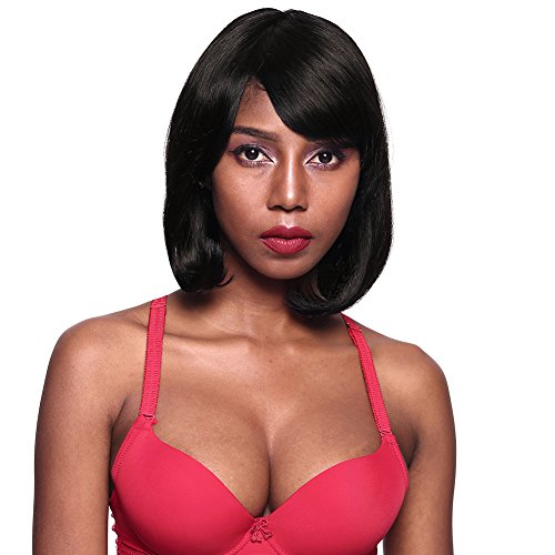 Search : GOTTA Bob Wig Human Hair Wig 14'' Remy Hair Full Extension Wig with Bang High Density Side Part Replacement Wig for Women, Natural Black(#1b)
