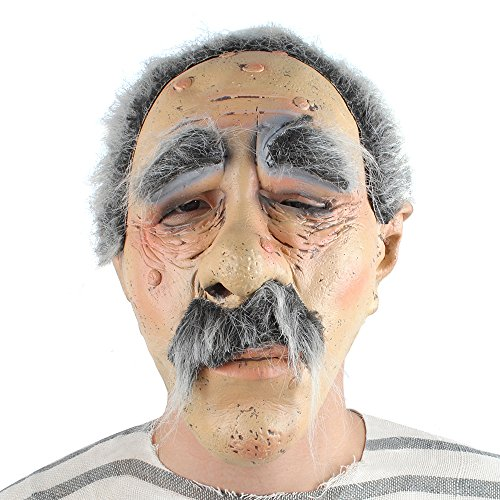 Male Oldie Mask Latex Sick Sleepy Old Guy With Beard Scary Bad Geezer Moles Winkled (Scary Halloween Costumes With Beards)