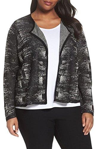 Eileen Fisher Plus Black/Bone Fine Organic Linen Crepe Knit Round Neck Cardigan Size 3X MSRP $298