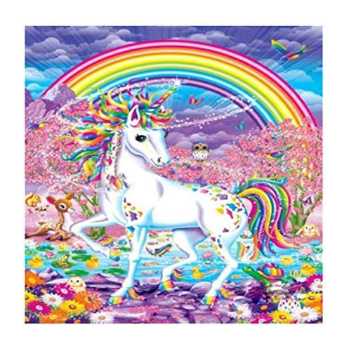 MXJSUA DIY 5D Diamond Painting by Number Kits Full Round Drill Rhinestone Embroidery Cross Stitch Picture Art Craft Home Wall Decor Rainbow Unicorn 12x12In
