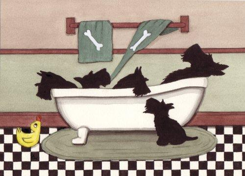 Scottish terriers (scotties) fill tub at bath time / Lynch folk art print