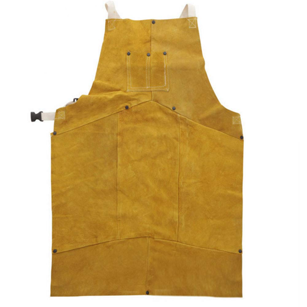 Phoenixfly99 Leather Welding Bib Apron Cowhide Split Leather Safety Apparel Flame Resistant Apron With Pocket Yellow (28-Inch By 39-Inch) by Phoenixfly99 (Image #4)