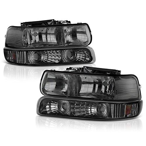 VIPMOTOZ For 1999-2002 Chevy Silverado 1500 2500 3500 Headlights - Metallic Chrome Housing, Smoke Lens, Driver and Passenger Side