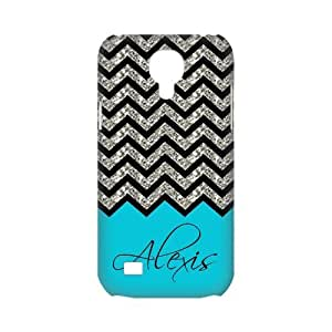 Black Grey Chevron & Turquoise Pattern (NOT ACTUAL GLITTER) Personalized Custom Best White Plastic 3D Case for Samsung Galaxy s4 MINI by Maris's Diary