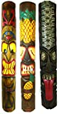 40 IN HAND CARVED BEAUTIFUL SET OF 3 POLYNESIAN TIKI GOD TRIBAL MASKS TONGUE TWO FACE TEETH