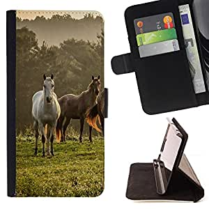 Horses Nature Meadow Fog Mist Field Mustang - Painting Art Smile Face Style Design PU Leather Flip Stand Case Cover FOR Samsung Galaxy Core Prime @ The Smurfs