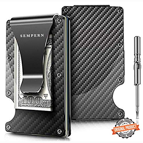 Carbon Fiber Slim Wallet - Metal Wallet - RFID Blocking Wallet | Up to 12 Cards - Front Pocket Wallets for Men, Credit Card Holder - Minimalist Wallet