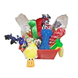 Just Chill'in Pets Holiday Dog Gift Basket Assortment of Fun Durable Dog Toys, Tasty Dog Jerky and Cozy Blanket Inside a Storage Basket For Sale