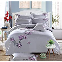 Dodou Purple petals Embroidery Duvet Cover Set Traditional Sheet Asian Bedding wedding Bedding Sets 100% Egyptian cotton 4PCS (Queen)