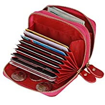 Kinzd Accordion Wallet RFID Leather Card Wallet for Women Credit Card Holder