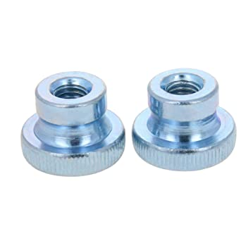 MroMax Knurled Thumb Nuts M5 Round Knobs with Nickel Plating Straight Flower Silver Tone 10pcs
