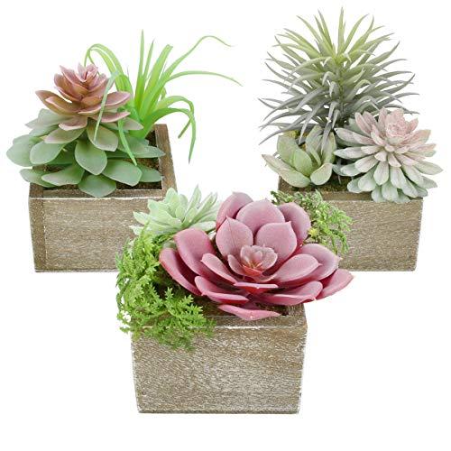 Mingfuxin Artificial Succulents Plants, Mini Assorted Green Faux Succulents in Pots, Small Succulents Plants Artificial…