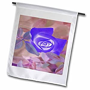 Yves Creations Florals and Bouquets - Iridescent Blue Paper Rose - 18 x 27 inch Garden Flag (fl_77036_2)