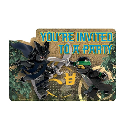 8 Lego Ninjago Movie Birthday Party Invite Invitations Cards plus Envelopes (Birthday Party Invitation Invite)
