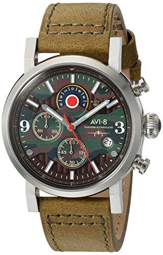 AVI-8 Men's 'Hawker Hurricane' Quartz Stainless Steel and Leather Aviator Watch, Color:Green (Model: AV-4041-06)