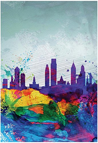 Philadelphia Watercolor Skyline Poster by NaxArt 13 x 19in from Poster Revolution