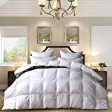 MedMedium Weight White Goose Down Feather Comforter Warmth Duvet Insert,600Thread Count 100% Cotton Cover,Super Fluffy,Queen Size,White Stripes