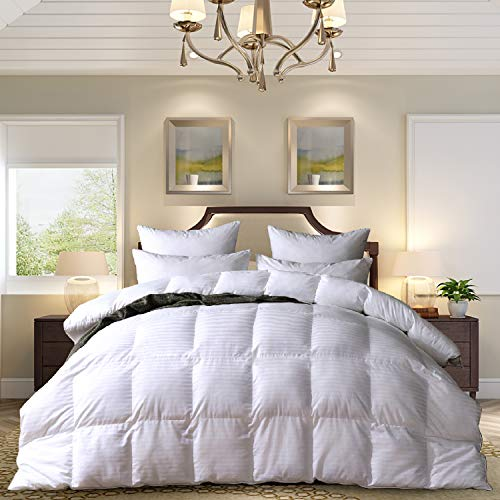 MedMedium Weight White Goose Down Feather Comforter Warmth Duvet Insert,600Thread Count 100% Cotton Cover,Super Fluffy,King Size,White Stripes