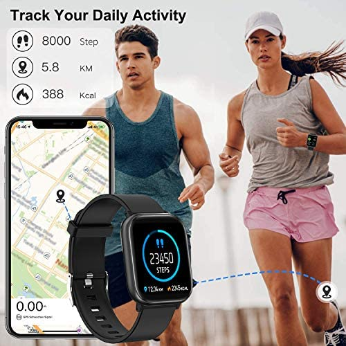 """Fitness Tracker, FirYawee Smart Watch for Android Phones,1.4"""" Touch Screen IP68 Waterproof Smartwatch with Heart Rate Monitor Sleep Monitor, Step/Distance/Calorie Counter Fitness Watch for Women Men 2"""