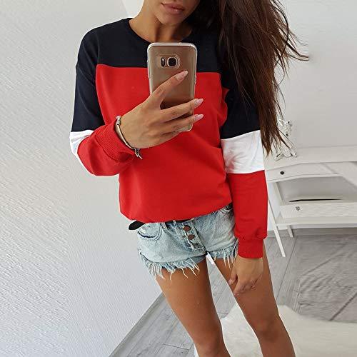 da E Lunga Donna da Camicetta a Donna Canotte Manica Manica a Rosso Top con Lunga Sweatshirt Felpa Motivo Donna wxqpB1n4