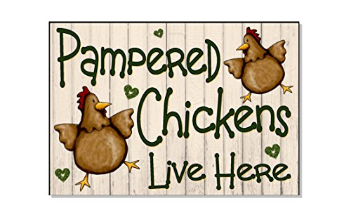 """SLobyy Pampered Chickens Live Here Cream Funny Outdoor Sign Plaque for Chicken Hen Coop House Run Garden Yard Gift Wooden Plaque 11""""X7.5"""""""