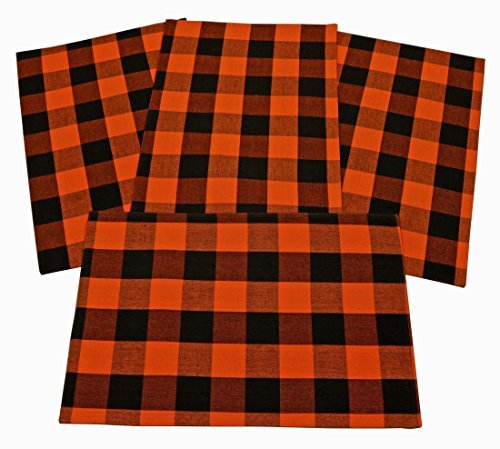 Franklin Black & Orange Checked Placemats 13x19 inches Set of 4 Woven Cotton -