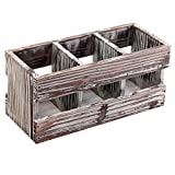 3 Compartment Torched Wood Desktop Office Supplies Caddy Desk Organizer Storage Holder