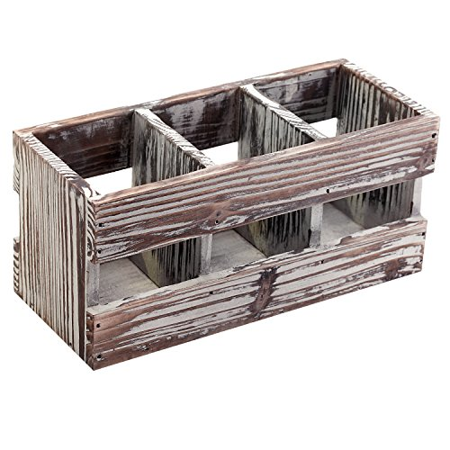 3-Compartment Torched Wood Desktop Office Supplies Caddy Des