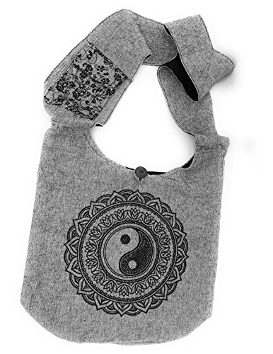 Bohemian Yin and Yang Yoga Large Sling Crossbody Shoulder Bag Purse Hippie Hobo Gypsy