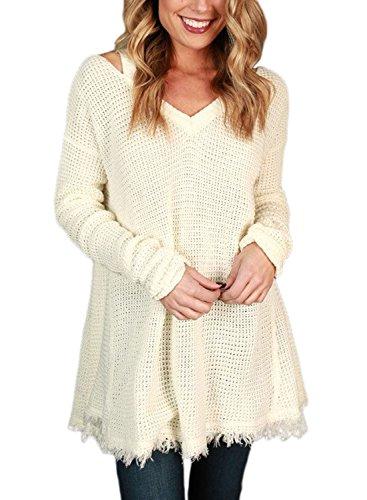 Sidefeel Women V Neck Cold Shoulder Sleeves Sweater Knitted Pullover Medium White