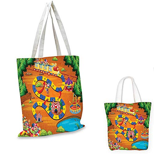 Kids Activity canvas shoulder bag Helping the Lost Clowns Circus Themed Colorful Cartoon Amusement Park Design shopping bag for women Multicolor. 12