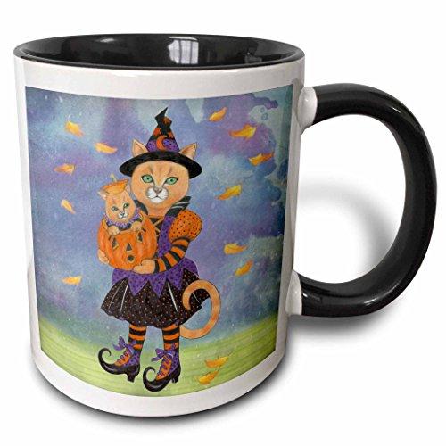 3dRose Laura J Holman Art - Halloween cats - Cat in witch costume holds pumpkin with kitten inside. - 15oz Two-Tone Black Mug (mug_201515_9) -
